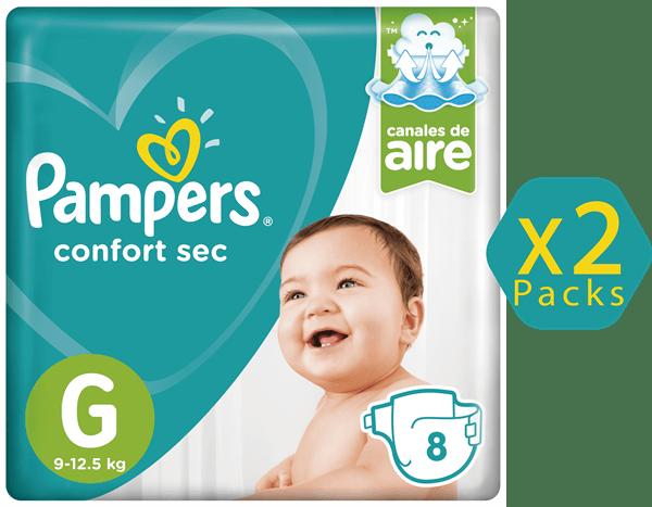 Combo Pañales Pampers Confort Sec G X 2 Packs De 8 Unidades