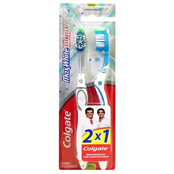 Colgate Maxwhite Cepillo Dental Medio 2 En 1