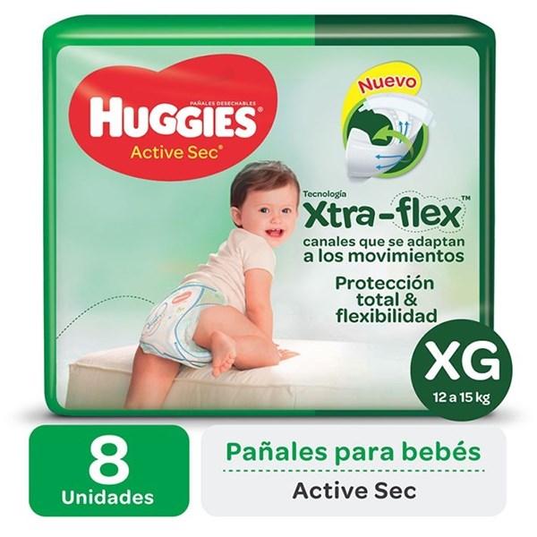 Huggies Pañales Active Sec XG Regular x 8 u