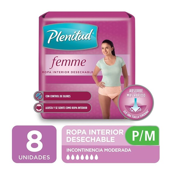 Plenitud Ropa Int Desechable Mujer P/m X 8