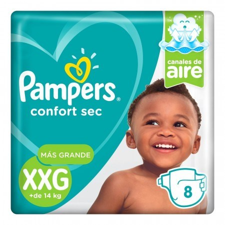 Pañales Pampers Confort Sec XXG x8