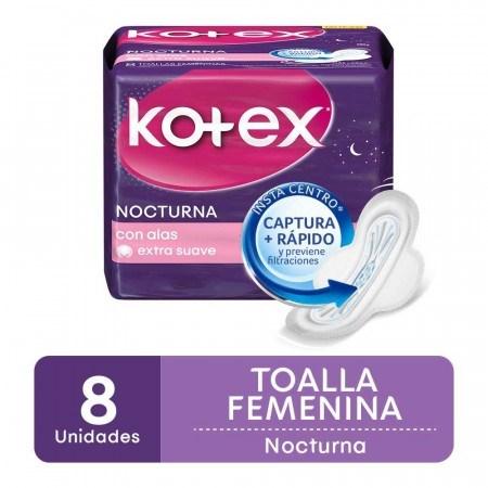 Kotex Toallitas Femeninas Nocturnas C/Alas x8 Unidades 50% en 2da unidad