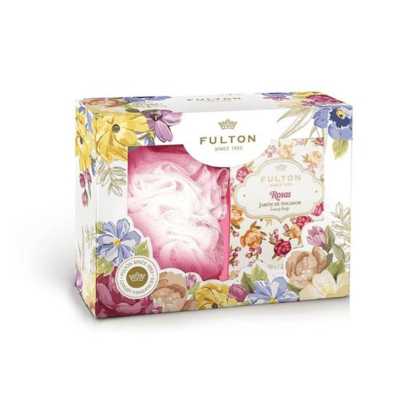 Estuche Fulton Jabón Rosas + Esponja Exfoliante