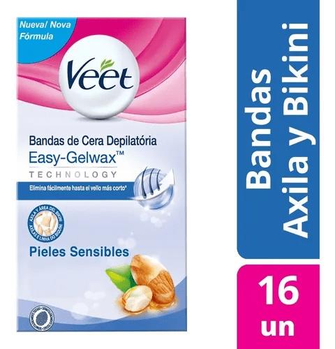 Veet Bandas Depilatoria CERA Fria Sensible AXI/BIK x16 Unidades 20%