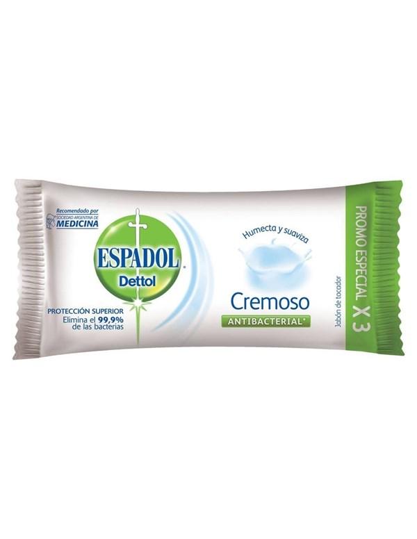 Espadol Dettol Jabon Antibacterial Cremoso x 80 gr Pack x 3u8n.