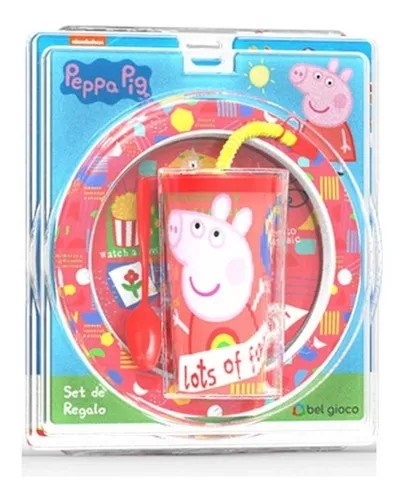 Set Peppa Pig Plato + Vaso + Cuchara