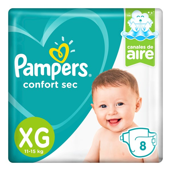 Pañales Pampers Confort Sec Xg 8 Unidades