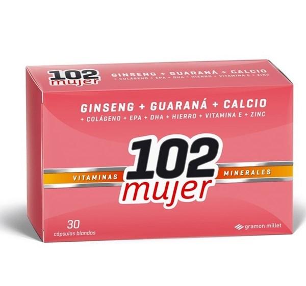 102 Suplemento Dietario x 30 Cps Mujer y Belleza