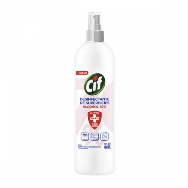 Desinfectante de superficies CIF Alcohol 70% 400 ml Spray