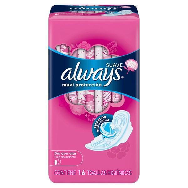 Always Toallitas Femeninas Maxi Protección Suave x 16 un 50%off 2da Unidad