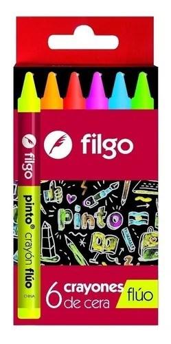 Crayones De Cera Fluo x6