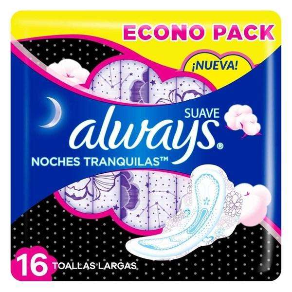 Always Toallas Femeninas Noches Tranquilas Cubierta Suave x16