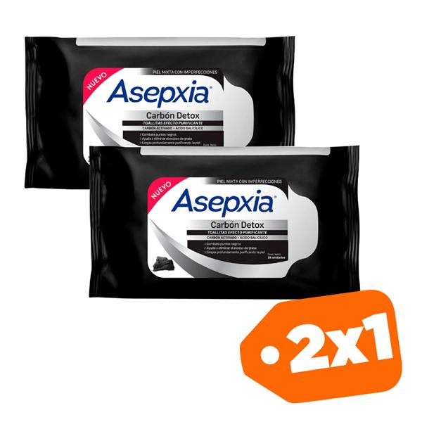 Promo 2x1 Asepxia Toallitas Purificantes Carbon Detox X25unid.