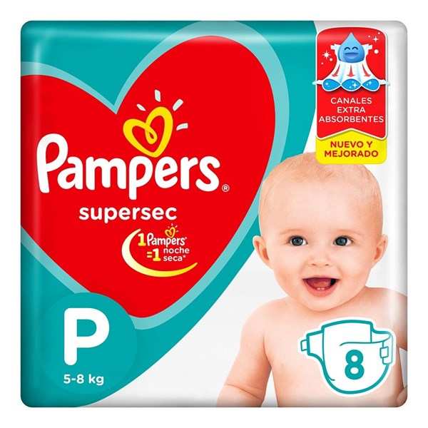 Pañales Pampers Supersec P X 8 Unidades