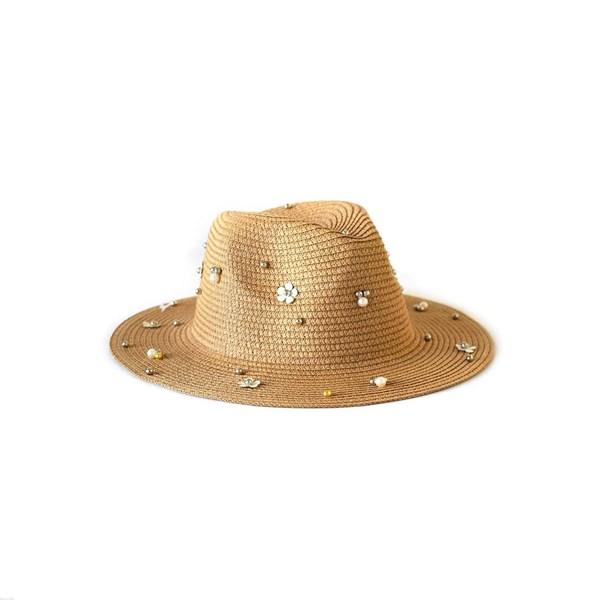 Sombrero Tanguero Rafia Con Aplique Perlas