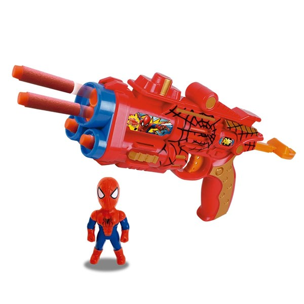 Pistola Lanza Dardos Spiderman Con Muñeco alt