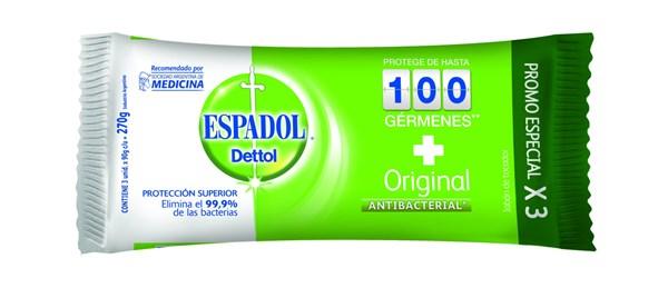Espadol Dettol Antibacterial Jabon Original 3x90g