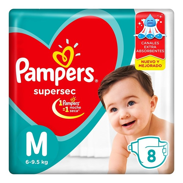Pañales Pampers Supersec M X 8 Unidades