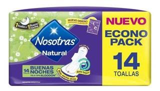 NOSOTRAS Toallitas higienicas BUENAS NOCHES TELA x 14 un PROMO 2x1