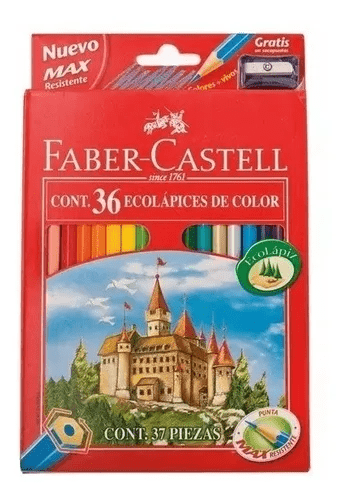 Lapices Color Faber x 36 Larg + Sacapuntas
