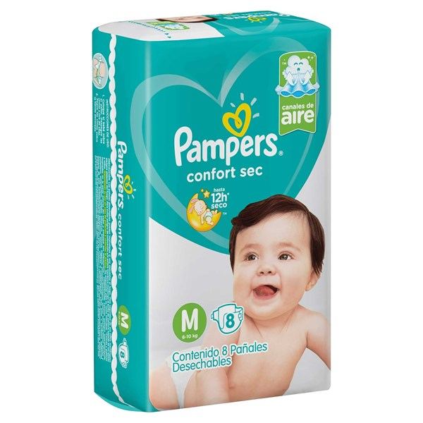Pañales Pampers Confort Sec M X8 Combo x16 Paquetes