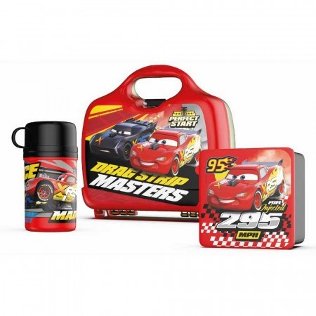 Set Disney Cars Lonchera + Sandwichera + Termo