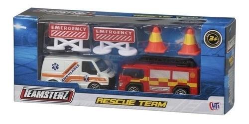 Team Rescue Camión Bombero + Ambulancia + Accesorios