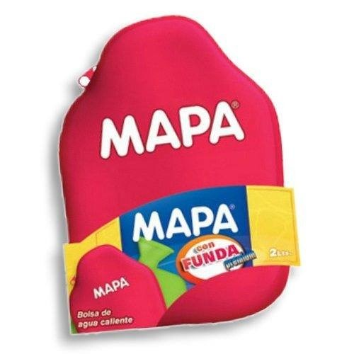 Bolsa De Agua Caliente Mapa 2 Lts. Con Funda Tapa A Rosca.
