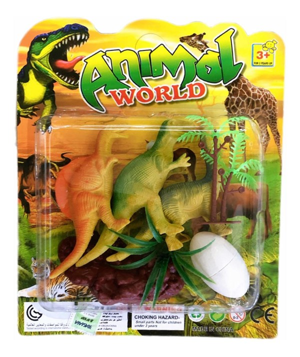 Dinosaurio Juguete Con Huevo x3 Animal World
