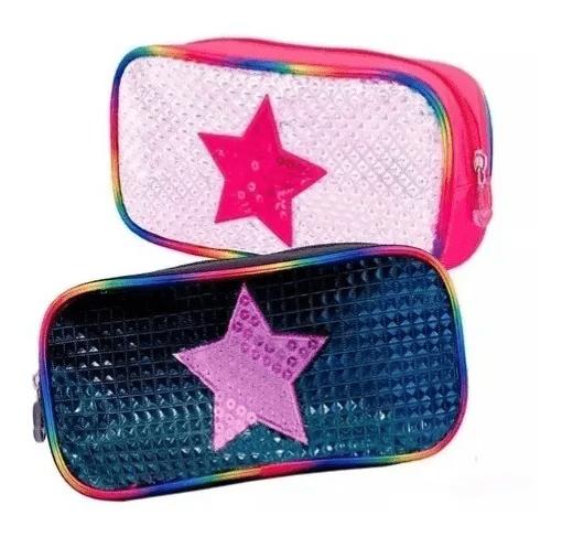 Cartuchera Footy Holograma Estrella y Lentejuelas alt