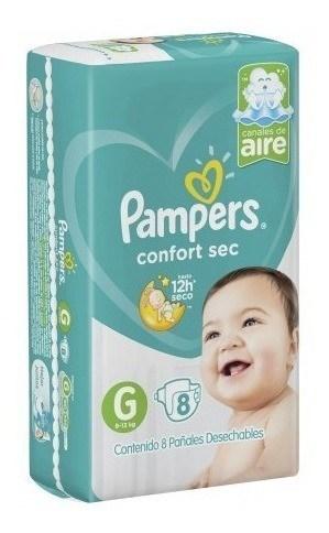Pañales Pampers Confort Sec G 8un Pads