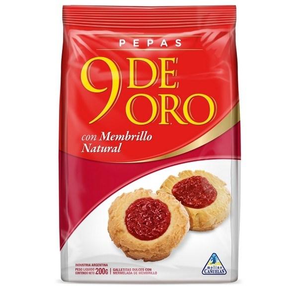 BIZCOCHO 9 DE ORO PEPAS MEMBRILLO x 200 GRS
