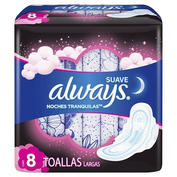Toallitas Higienicas Always Pink Noches Tranq Suave X 8 Unidades  alt