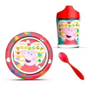 Peppa Pig Set Plato + Vaso + Cuchara