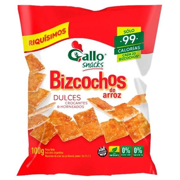 BIZCOCHOS DE ARROZ GALLO DULCES x 100 GRS