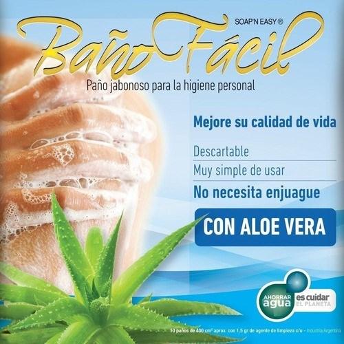 Baño Fácil Paño Jabonoso x 10 Uni Aloe Vera