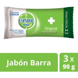 Jabon Espadol Dettol Antibacterial Original 3 Unidades X 90 Gr