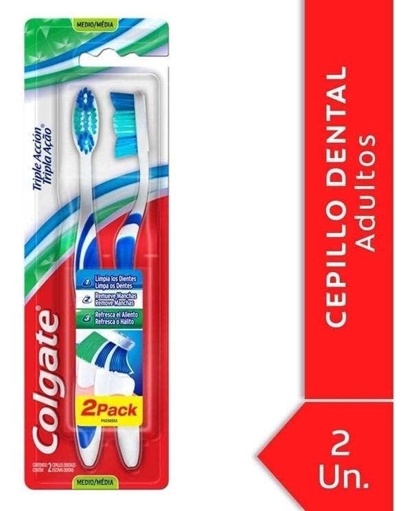 Colgate Cepillo Dental Triple Acción Medio x2