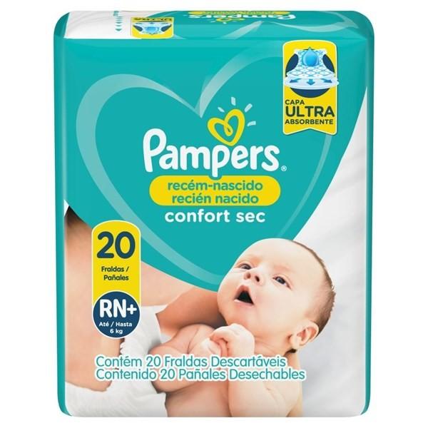 Pañales Pampers Recién Nacido Confort Sec Rn+ 20 Unidades