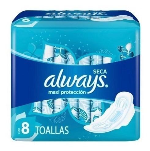 Toallitas Femeninas Always Maxi Protección Seca 8 Un #1