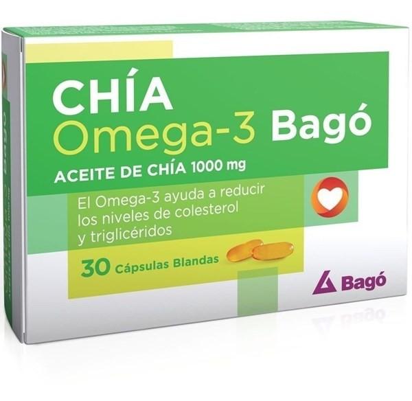 Aceite De Chia Bago 1000mg Omega 3 Colesterol  X 30 Cápsulas