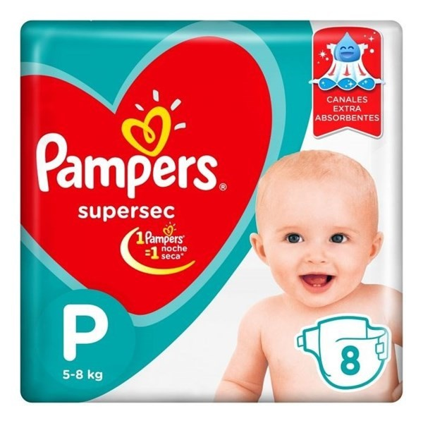 Pampers Supersec Peq 8 Pañales