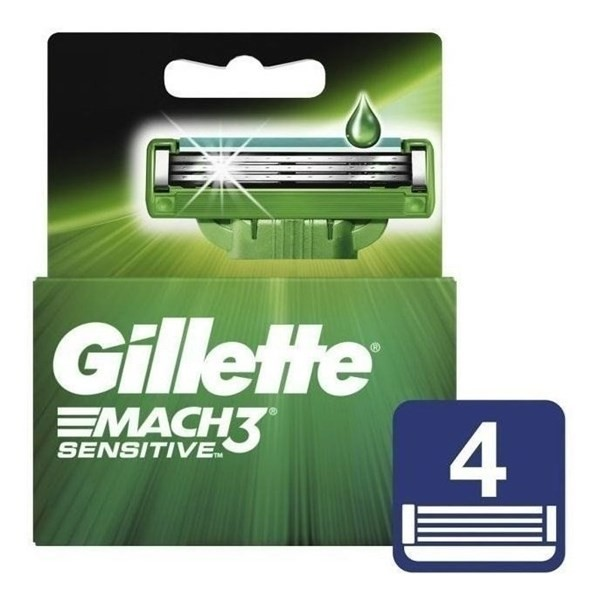 Cartuchos Repuesto De Afeitar Gillette Mach3 Sensitive 4 Unidades