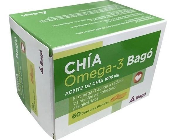 Aceite De Chia Bago 1000mg Omega 3 Colesterol  X 60 Cápsulas
