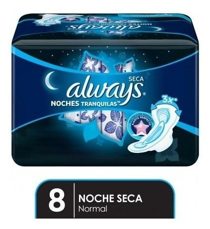 Toallitas Femeninas Always Noches Tranquilas Seca 8 Un