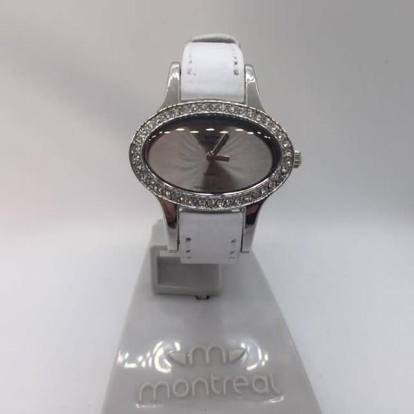 Reloj Dama Montreal Malla Cuerina Blanca -mm