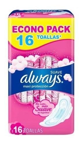 Toallitas Femeninas Always Maxi Protección Suave 16 Un