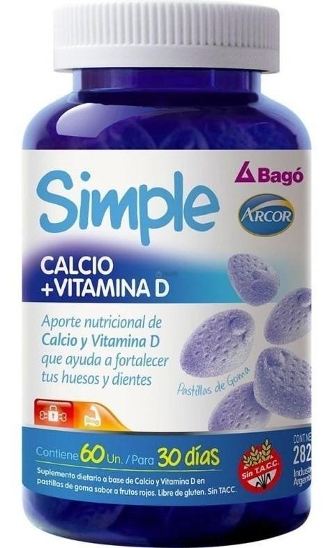 Simple Calcio+vitamina D /frutos Rojos X 60 Pastillas