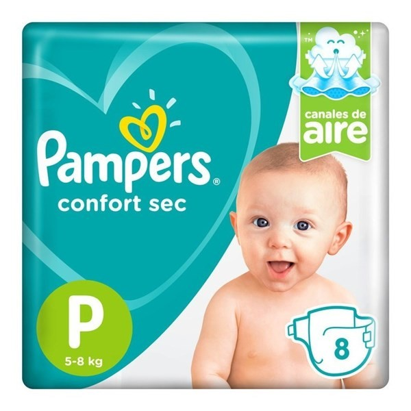Pañales Pampers Confort Sec P 8 Unidades