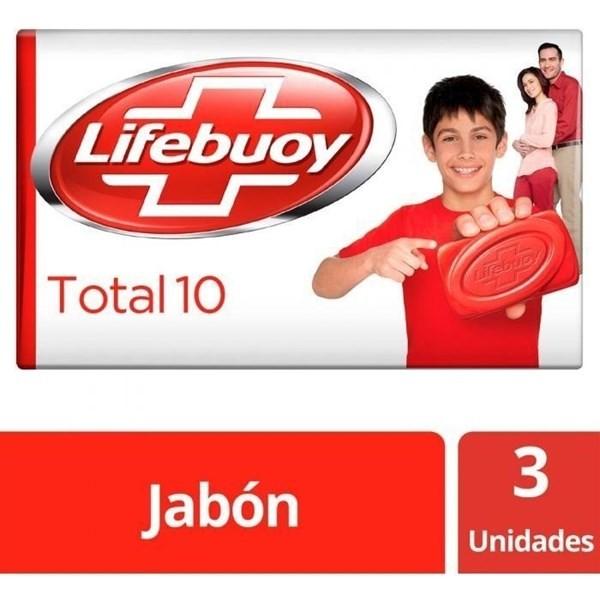 Jabón Antibacterial Lifebuoy Total Barra 3 Unid X125g